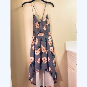 Gray, floral cocktail dress